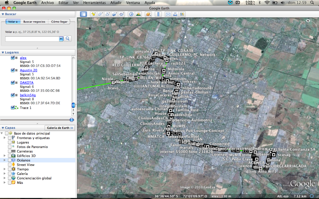 Redes capturadas en Google Earth